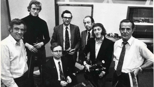 The Chieftains pictured on September 20th, 1975 (L-R): Sean Potts, Sean Keane, Michael Tubridy, Martin Fay, Paddy Moloney, Peader Mercier and seated in front Derek Bell. Photograph: The Irish Times