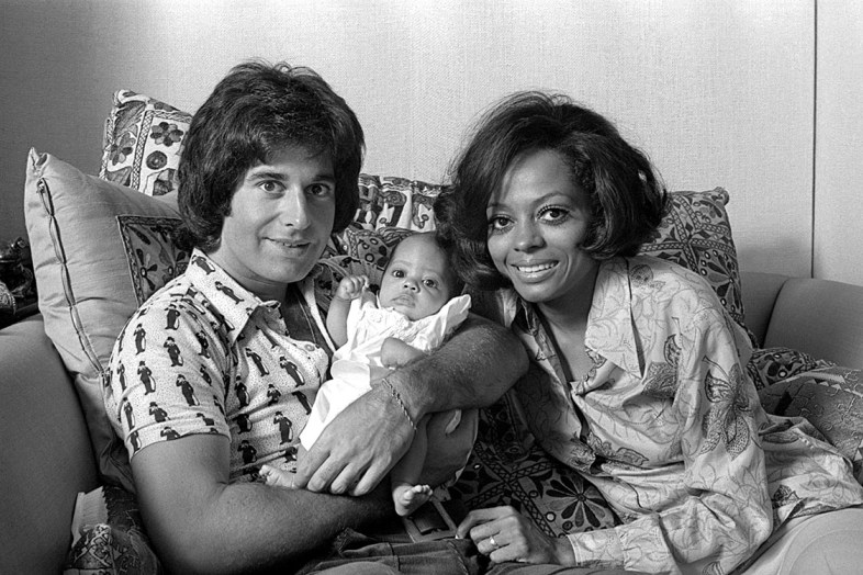 American singer Diana Ross with former husband, music executive and businessman Robert Ellis Silberstein, at home with her daughter, October 1971.