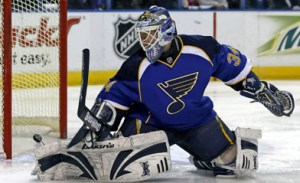 Manny Legace was the Blues' starting goalie for parts of three seasons.