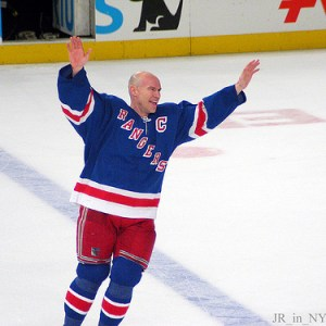 Messier waves to the crowd after his final NHL game. (Image Credits: JR_in_NYC)
