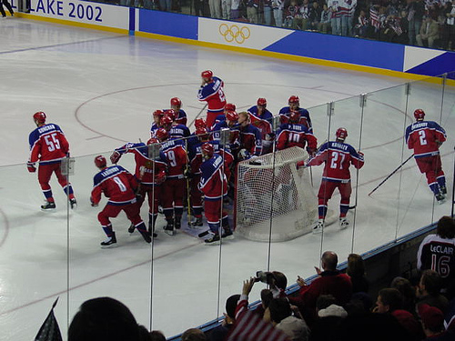 The Russians break from a huddle before facing the USA in 2002.  Photo credit to uncleweed