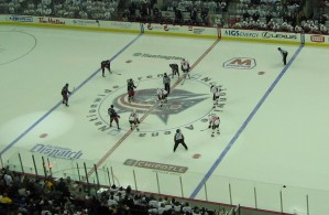 The Columbus Blue Jackets and Calgary Flames get ready to drop the puck on White Out Night at Nationwide Arena (Photo by RG/The Hockey Writers)
