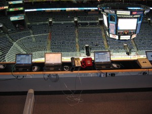 One more view of the booth high above the ice that the NHL off-ice officials work from (Photo by RG/The Hockey Writers)
