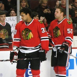 Byfuglien and Ben Eager, Former Hawks Now With Atlanta (Pam Rodriguez/THW)