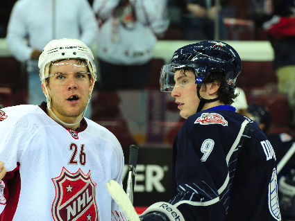 Paul Stastny and Matt Duchene on opposing teams