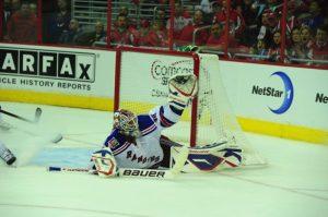 Henrik Lundqvist and the New York Rangers are still Stanley Cup favorites, despite an 0-2 start. (Tom Turk/THW).