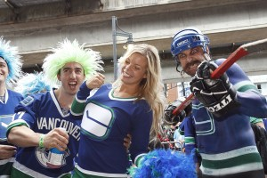 Canucks fans outside Rogers Arena