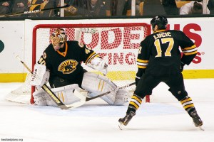 Tuukka Rask and Milan Lucic. Photo courtesy of Flickr - Credit: Slidingsideways
