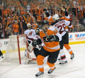 Danny Briere in the midst of his signature, goal-scoring fist pump. Let's see it and see it often this year with the Canadiens. (Eric Hartline-US PRESSWIRE)