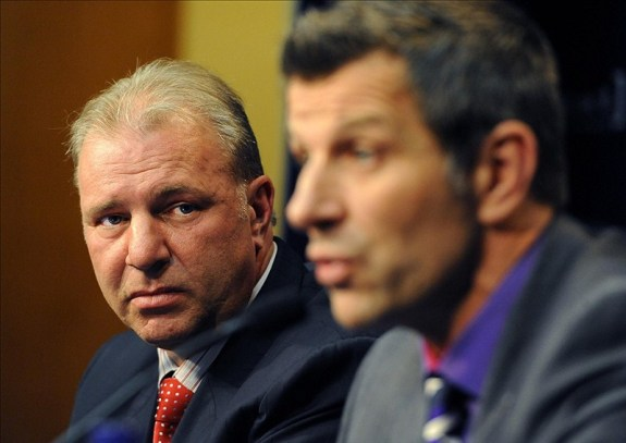 Marc Bergevin and ex-Montreal Canadiens head coach Michel Therrien
