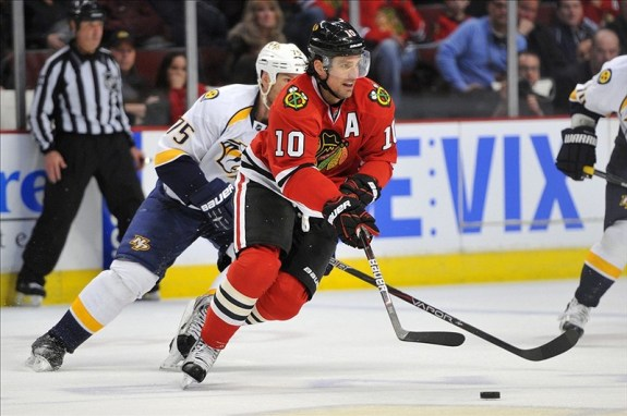 The Blackhawks are undefeated in regulation with Patrick Sharp in the lineup. (Rob Grabowski-US PRESSWIRE)