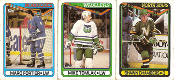 Marc Fortier, Mike Tomlak, and Shawn Chambers hockey card scans