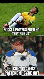 How tough are soccer players compared to hockey players? (Credit: Pinterest)