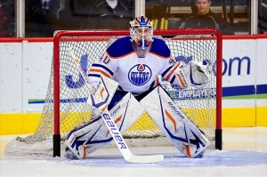 Devan Dubnyk is currently the Oilers top goaltender (Matt Kartozian-USA TODAY Sports)