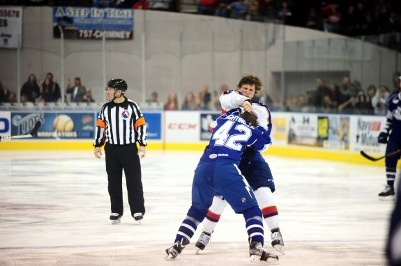 Though guy John Kurtz  helps Exelby in his duites Photo Credit: (Norfolk Admirals/John Wright)