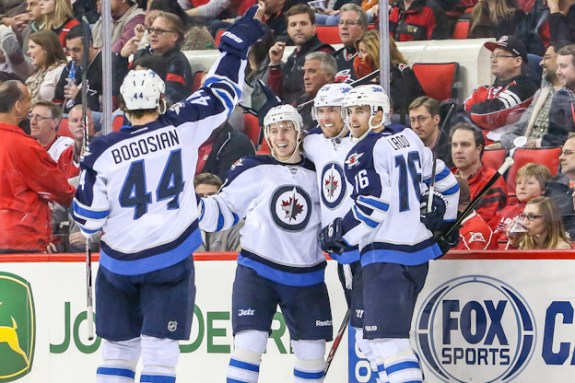 L-R: Zach Bogosian (44), Bryan Little and Blake Wheeler are three of the five Jets headed for salary arbitration. - Photo By Andy Martin Jr