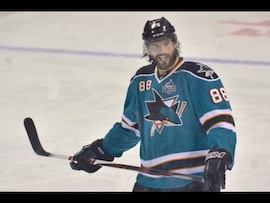 Brent Burns with the half caveman