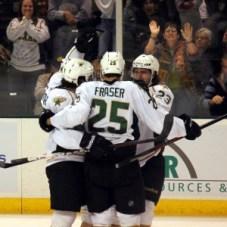 Fraser celebrates a goal (Ross Bonander / THW)
