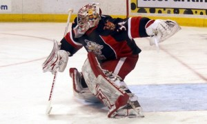 Goalie Petr Mrazek needed just 16 stops to help the Griffins shut out the Milwaukee Admirals. (Ross Bonander / THW)