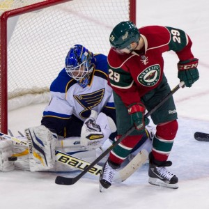 Pominville looks for the redirect, against Brian Elliot of the Blues. Hemmelgarn-USA TODAY Sports)