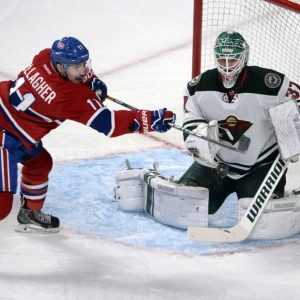 Brendan Gallagher and former-Minnesota Wild goalie Josh Harding