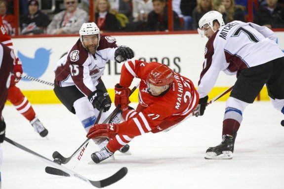 Manny Malhotra loves playing in the NHL & is happy to be back playing the game he loves. (James Guillory-USA TODAY Sports)