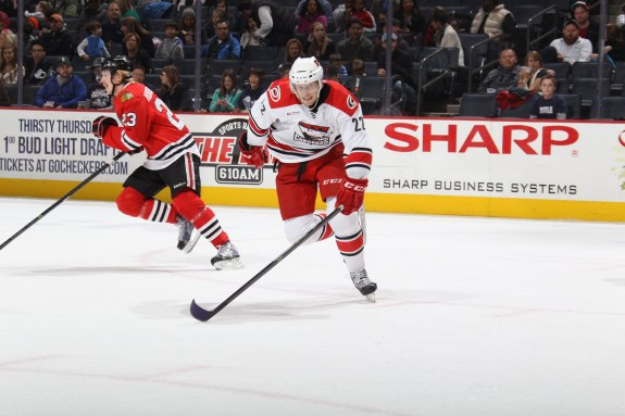 Jared Staal plays a pivotal role with the Checkers. Photo Credit: (Gregg Forwerck/Charlotte Checkers)