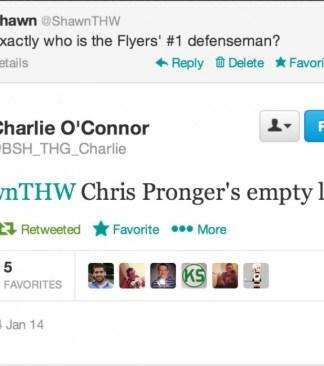 Chris Pronger's empty locker