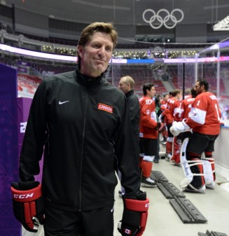 Mike Babcock coached Team Canada to Olympic gold in both Sochi and Vancouver for back to back wins (Jayne Kamin-Oncea-USA TODAY Sports).