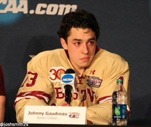 John Gaudreau at the post-game press conference.