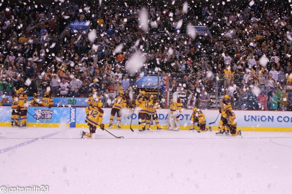 Minnesota Golden Gophers watch Union College celebrate a National Championship victory. [photo: Josh Smith]