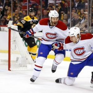 Montreal Canadiens forward Dale Weise and former- Habs forward Brandon Prust