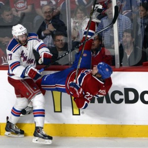 Montreal Canadiens forward Dale Weise and former-New York Rangers defenseman John Moore