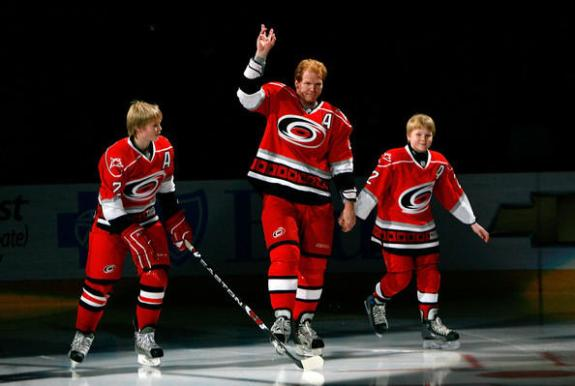 Glen Wesley skates with his sons on the night the Carolina Hurricanes retired his number. (via Josh Wesley)