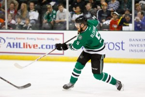 Jamie Oleksiak, who has played in just 11 games for the Stars this season, is currently on a conditioning assignment with the Texas Stars. (Michael Connell/Texas Stars Hockey)