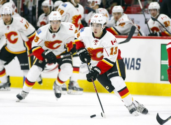 Rookie Johnny Gaudreau has been a big part of the Calgary Flames offence this season. (James Guillory-USA TODAY Sports)