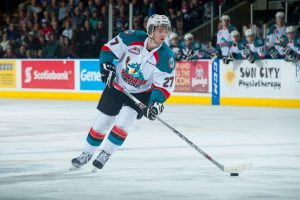 (Marissa Baecker/www.shootthebreeze.ca) Josh Morrissey made his Kelowna Rockets debut in a 5-3 home-ice loss to the Medicine Hat Tigers on Jan. 10 at Prospera Place.