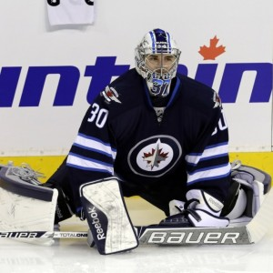 Hellebuyck looks to challenge Ondrej Pavelec and Michael Hutchinson for a spot on the Jets this year (Bruce Fedyck-USA TODAY Sports)