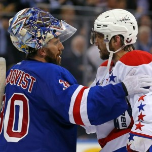 Alex Ovechkin of the Washington Capitals and Henrik Lundqvist of the New York Rangers.
