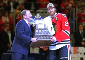 Keith with the Conn Smythe Trophy on June 15 2015. (Dennis Wierzbicki-USA TODAY Sports)