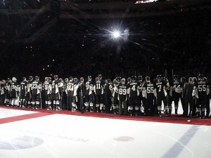 Penguins players, past and present, gathered at Mellon Arena for the building's final regular season game. (Michael Miller/Wikimedia)