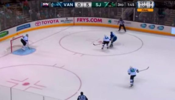 Instances such as these are why hybrid icing are bad for the game (courtesy Sportsnet)