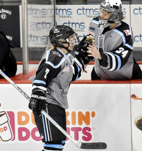 Amanda Makela of the Buffalo Beauts high-fives captain Emily Pfalzer after a goal. (Photo Credit: Troy Parla)