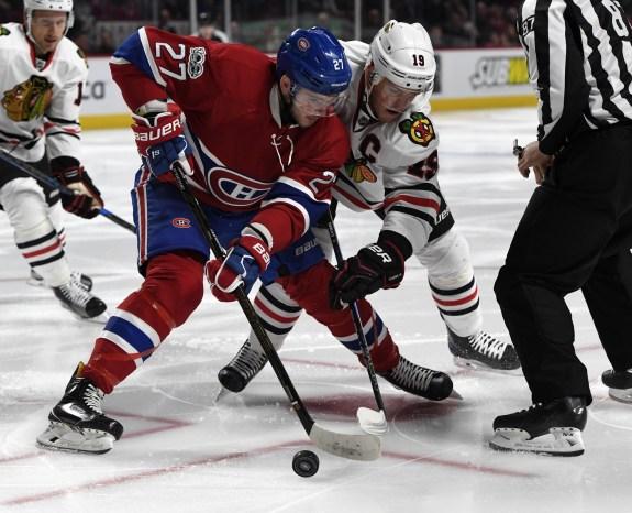 Montreal Canadiens forward Alex Galchenyuk and Chicago Blackhawks forward Jonathan Toews