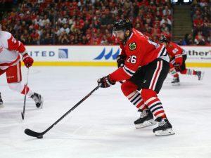 Andrew Ladd forced the Hawks to demote Shaw (Dennis Wierzbicki-USA TODAY Sports)