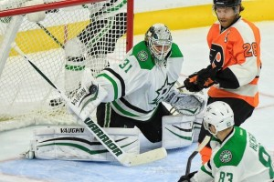 Stars' goalie Antti Niemi and his partner in Dallas' goalie tandem, Kari Lehtonen, have played consistently well to help the Stars get off to their 18-5-0 start. (Amy Irvin / The Hockey Writers)