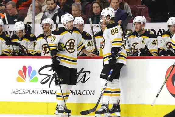 Brad Marchand David Pastrnak Bruins bench