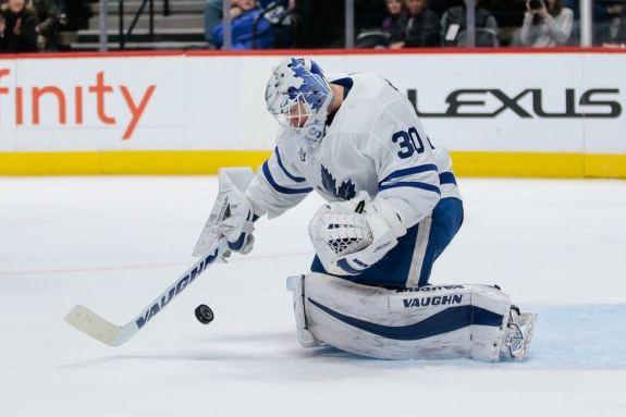 Maple Leafs goaltender Calvin Pickard
