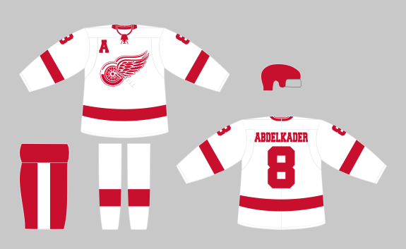 Detroit Red Wings White Away Jersey Concept