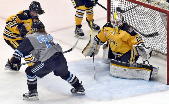 Hayley Williams of the Buffalo Beauts attempts to score on Brittany Ott of the Boston Pride in Game 2 of the Isobel Cup Final. (Photo Credit: Troy Parla)